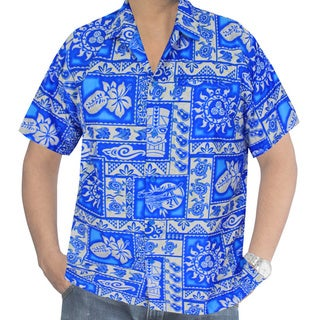 La Leela Men's Blue Likre Tropical Button Down Casual Pocket Shirt