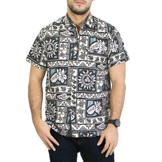 La Leela Men's Beach Hawaiian Floral Likre Shirt