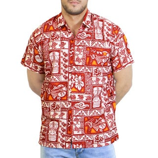 La Leela Men's Likre Floral Hawaiian Camp Shirt