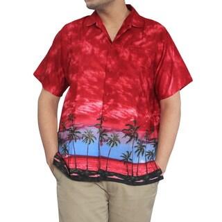 La Leela Men's Red Beach Sunset Likre Camp Shirt