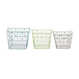 Metal Storage Basket Set of 3 19-inch/ 18-inch/ 16-inch Storage Accessory