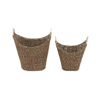 Sea Grass Metal Basket Set of 2 16-inch/ 19-inch Storage Accessory