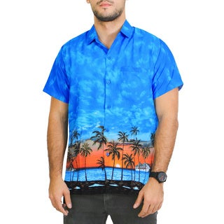 La Leela Men's Beach Scene Likre Button Down Shirt