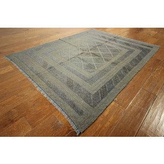 Pt105 Blue Wool Overdyed Veg Dyed Hand-knotted Diamond Cut Rug (4'8 x 6')