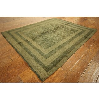 Pt127 Moss Green Wool Overdyed Double Diamond Cut Hand-knotted Rug (5'2 x 6')