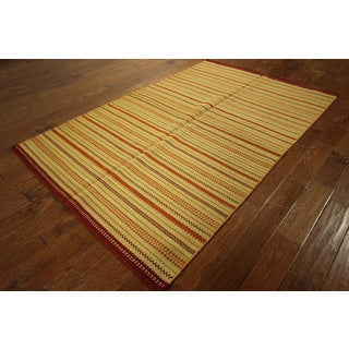 VH1348 Multicolored Wool Elegant Striped Kilim Hand-knotted Veg Dyed Rug (5' x 8')