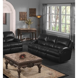 LYKE Home Casey Black Leather Air Sofa