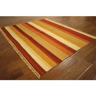 VH2993 Red/ Cream/ Orange Wool Stripe Kilim Hand-knotted Rug (4'6 x 5'4)