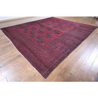P1323 Red and Blue Wool Tribal Turkmen Gul Afghan Hand-knotted Rug (11' x 12')