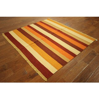 VH2990 Wool Square Stripe Kilim Hand-knotted Style Rug (5' x 5')