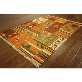 VHT2973 Wool South Western Hand-knotted Kilim Patch Design Rug (4'6 x 6'5)