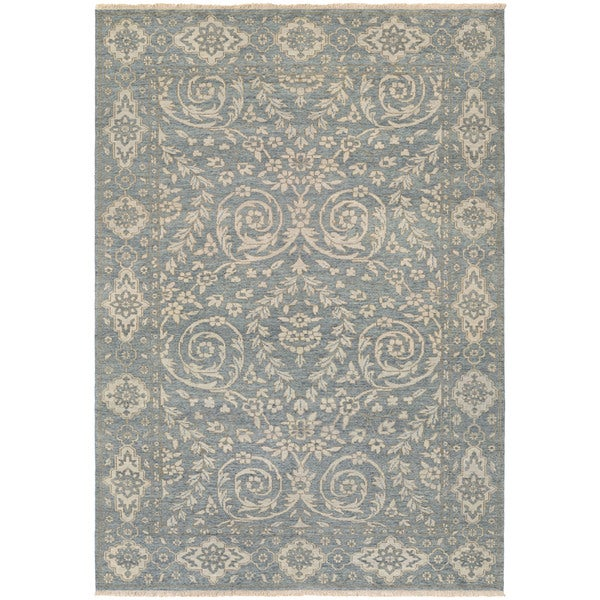 Couristan Tenali Latur Dusty Blue Wool Area Rug - 8' x 11'3""
