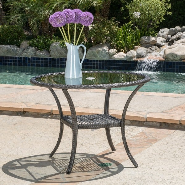 San Pico Outdoor Wicker Dining Table By Christopher Knight Home Free