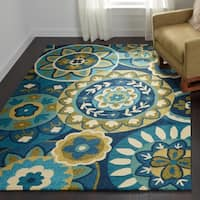 Couristan Covington 3778/1014 Rip Tide Ocean/ Green Rug - 8' x 11'