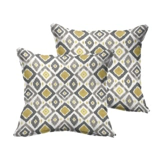 Selena Grey/ Gold Diamonds Indoor/ Outdoor Flange Square Pillows (Set of 2)