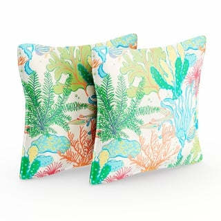 Selena Blue Green Seascape Indoor/ Outdoor Flange Square Pillows (Set of 2)