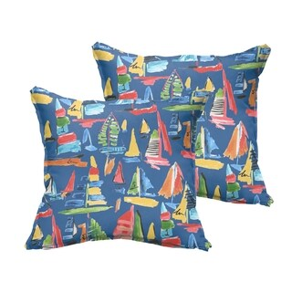 Selena Blue Sailboats Indoor/ Outdoor Flange Square Pillows (Set of 2)