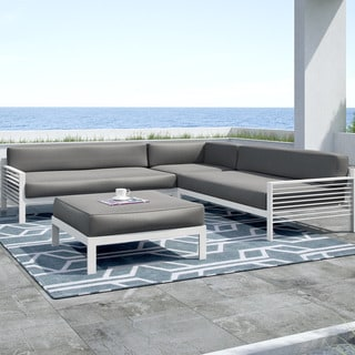 CorLiving Nantucket 4pc Dark Grey and White Patio Sectional Lounger Set