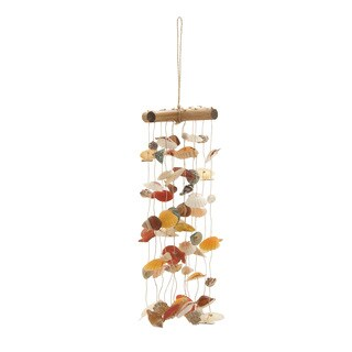 Rattan Shell Wind Chime 6-inch x 20-inch Garden Accent