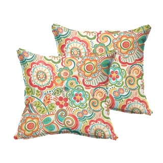 Selena Red Rio Floral Indoor/ Outdoor Flange Square Pillows (Set of 2)