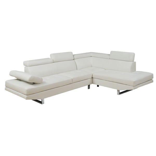 Mason White Leather Sofa: Shop LYKE Home Maddie Bonded Leather Sectional, White