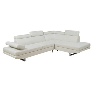 LYKE Home Maddie Bonded Leather Sectional, White