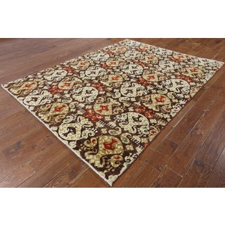 W1349 Wool Ikat Collection Oriental Hand-knotted Peshawar Rug (6' x 8')