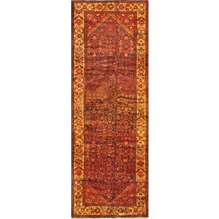 ecarpetgallery Persian Hosseinabad Brown/ Red Wool Runner Rug (3'4 x 10'2)
