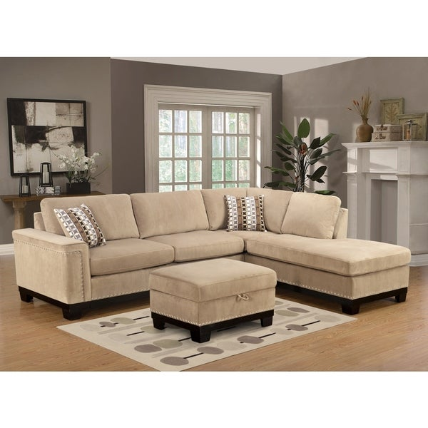 LYKE Home Opal Reversible Taupe Sectional  sc 1 st  Overstock.com : taupe sectional - Sectionals, Sofas & Couches