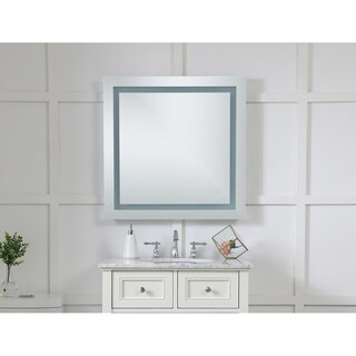 "LED Hardwired Mirror Square W28"" H28"" Dimmable 5000K - Silver"
