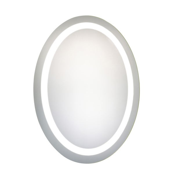 "LED Hardwired Mirror Oval W23""H30"" Dimmable 5000K - Silver"