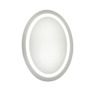 "LED Hardwired Mirror Oval W21""H28"" Dimmable 5000K - Silver"
