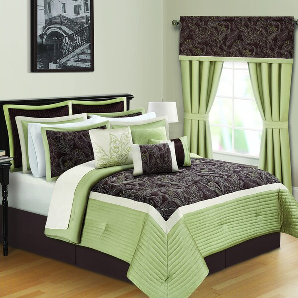 Shop Kyle Ii Sage And Brown 16 Piece Quilted Comforter Bed