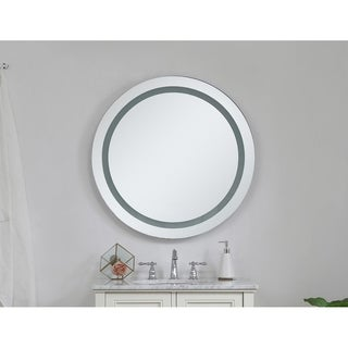 "LED Hardwired Mirror Round D30"" Dimmable 5000K - Silver"