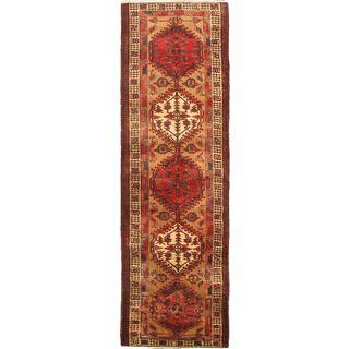 ecarpetgallery Persian Ardabil Beige/ Red Wool Runner Rug (3'6 x 11'3)
