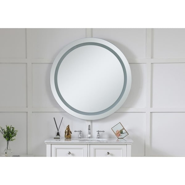 "LED Hardwired Mirror Round D36"" Dimmable 5000K - Silver"