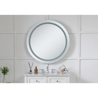"""LED Hardwired Mirror Round D36"""" Dimmable 5000K - Silver"""