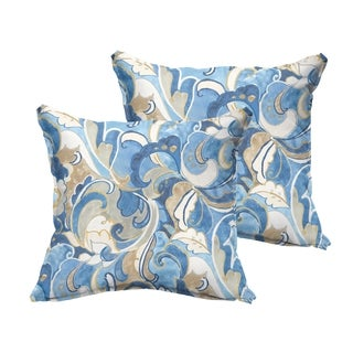 Selena Blue Grey Abstract Indoor/ Outdoor Flange Square Pillows (Set of 2)