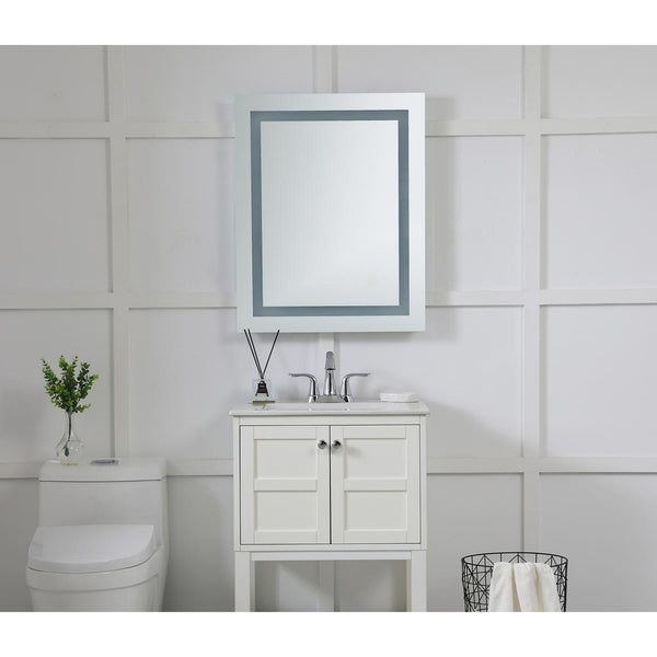 "LED Hardwired Mirror Rectangle W24""H30"" Dimmable 5000K - Silver"