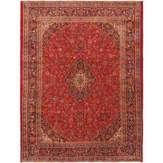 ecarpetgallery Persian Mashad Red Wool Rug (9'7 x 12'8)