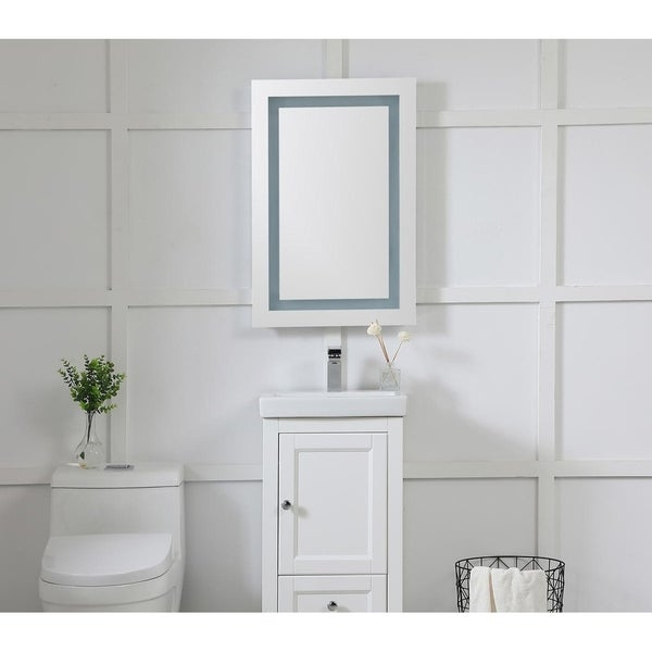 """LED Hardwired Mirror Rectangle W20""""H30"""" Dimmable 5000K - Silver"""