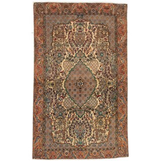 ecarpetgallery Persian Qum Beige Wool Rug (3'3 x 5'5)