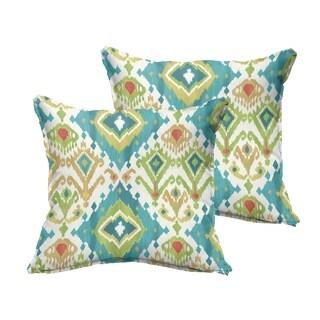 Selena Blue Green Ikat Indoor/ Outdoor Flange Square Pillows (Set of 2)