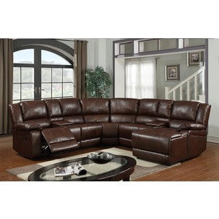 LYKE Home Candice Bonded Leather Match Sectional, Brown