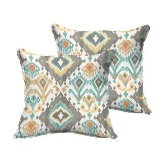 Selena Grey Aqua Ikat Indoor/ Outdoor Flange Square Pillows (Set of 2)