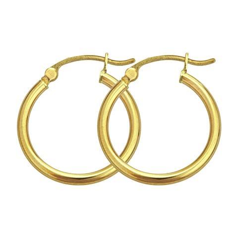 Decadence 14k Yellow Gold 3mm Circle Hoop Earrings
