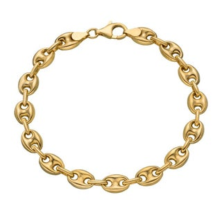 Decadence 14k Yellow Gold 5mm Puff Mariner Anklet