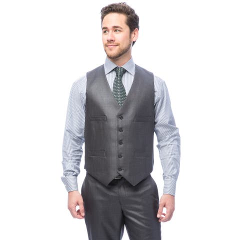 Kenneth Cole Men's Reaction Gunmetal Basketweave Suit Separate Vest