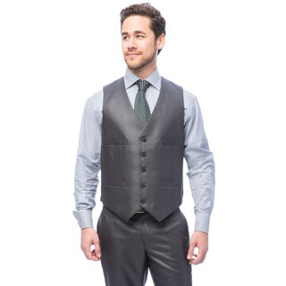Kenneth Cole Men's Reaction Gunmetal Basketweave Suit Separate Vest