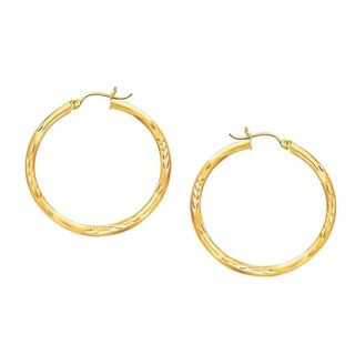 Decadence 14k Yellow Gold 4mm DC Hoop Earrings